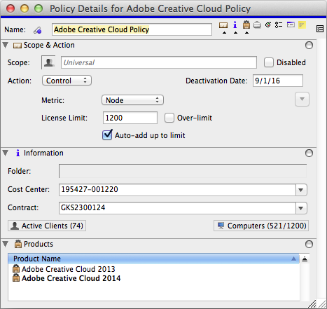 A Policy in K2 configured to manage Creative Cloud