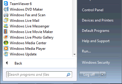 TeamViewer 6 in Start menu
