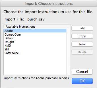Importing software purchase records