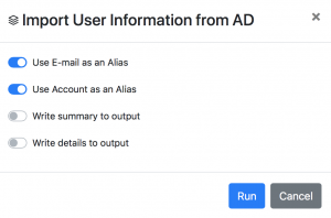 Import User Information Script Settings